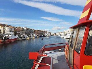 Apt 2 pieces - centre Sete - climatise - terrasse -  pres du Canal Royal