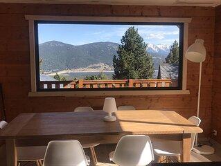 Gd Chalet neuf avec splendide vue sur le lac de Matemale pour 8 per