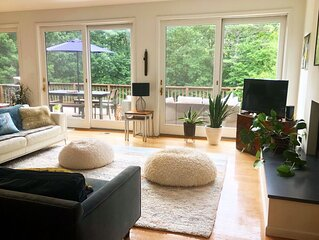 Stylish family-friendly Hudson Valley retreat with heated pool. Pets welcome.