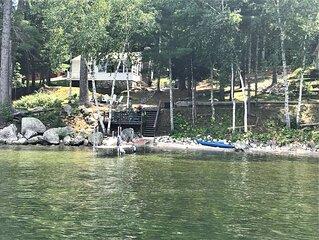 Sebago Lake... charming  2 bedroom  WATERFRONT cottage. Dock, mooring, & SUNSETS