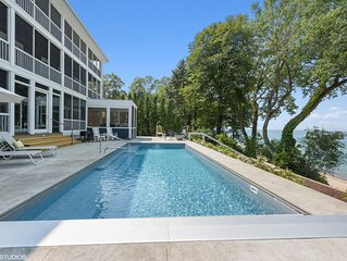 Lakefront Mansion With Heated Pool 9BR Modern Home On Private Sandy Beach