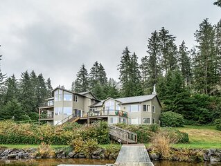 Dog-friendly, waterfront house w/ a private hot tub, game room, & dock