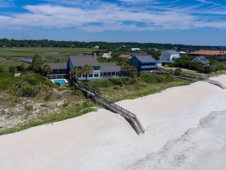 Sprawling Pawleys Island Oceanfront Estate with Private Pool, Hot Tub, Dock plu
