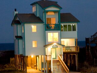 Charming Oceanfront Home in Avon! Easy Beach Access, Pool, Hot Tub, Pier Passes