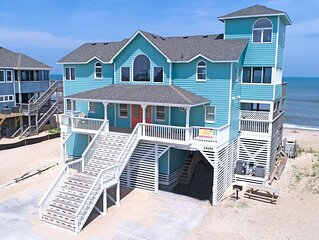 Peaceful Oceanfront Escape, Rodanthe- Hot Tub, Game Rm, Boardwalk to Beach
