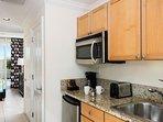 studio unit has kitchenette our one bedroom larger unit has full kitchen