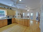 Huge fully equipped kitchen with loads of counter space & extra large fridge.