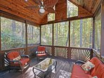 A screened porch provides refuge from bugs, sun, and the occasional rain storm.