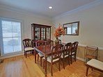 The formal dining room seats 8 but is more often used as a snack serving area.