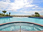 Soak in beautiful views of the Gulf of mexico view while you relax in the hot tub.