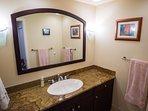 bathroom in 2nd floor bedroom (also has travertine & glass shower)