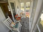 Front porch with rocking chairs:  a great place to have morning coffee