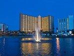 Night View of Pelican Beach Resort.
