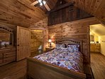 2nd floor master bedroom with queen size bed and full ensuite bathroom off bedroom