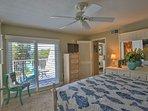 Master Bedroom overlooking sun deck  Summer look
