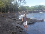Punaluu Black Sand beach, home of many nesting turtles, south of the house.