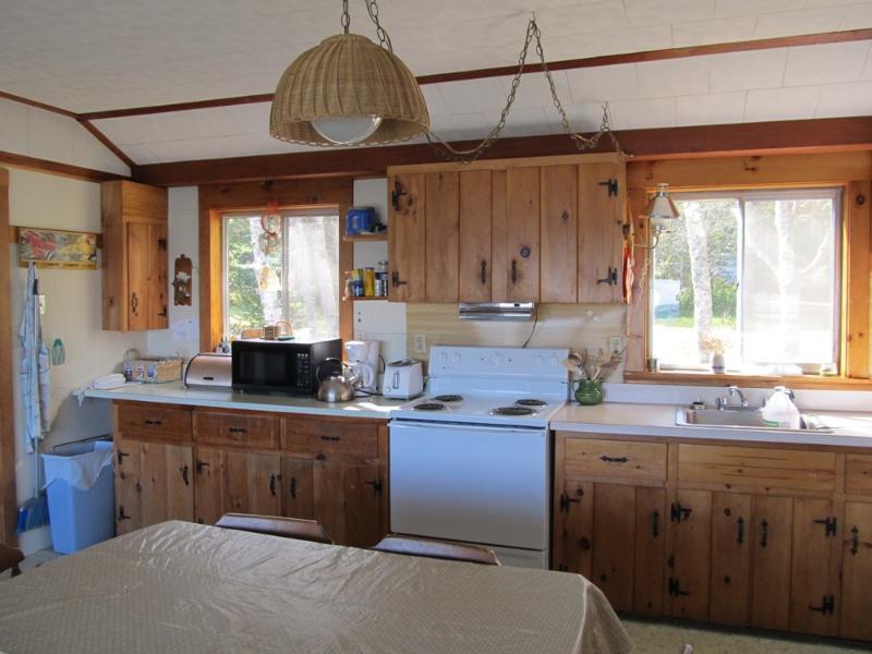 Sunlit kitchen.