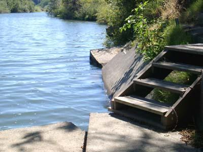 Dock Calm, Many Stairs down to Cement River Dock