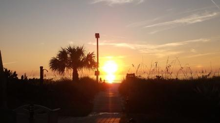 Sunset from our Gulfside Walkway to the Beach!