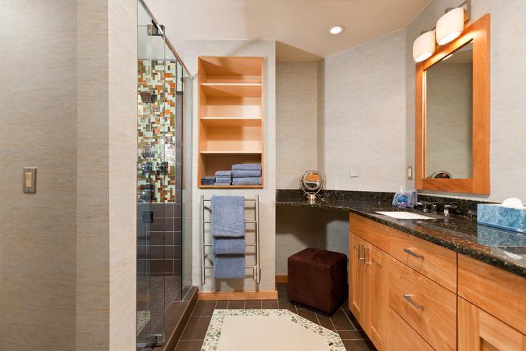 Norwegian Log Unit 202 - Master Bathroom with double sinks, heated floors & towel bars
