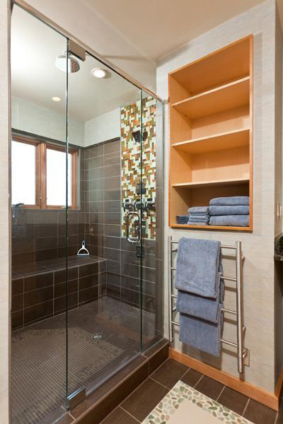 Norwegian Log Unit 202 - Master Bathroom with enormous shower with 6 shower heads