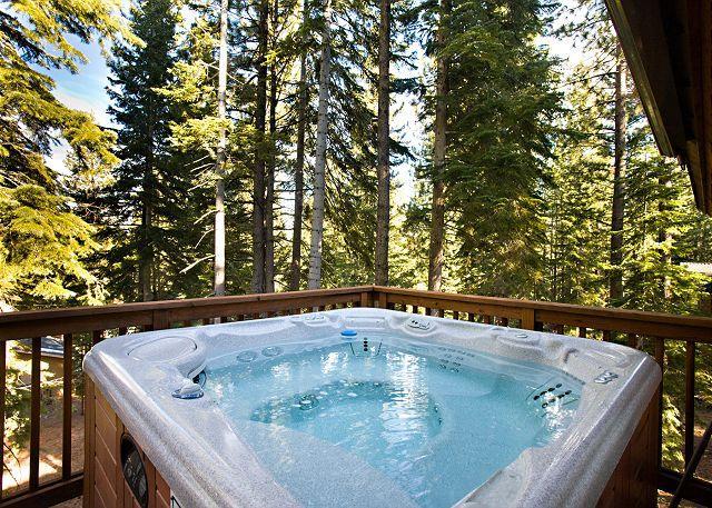 La vasca idromassaggio privata si trova sul ponte con vista sulla foresta.