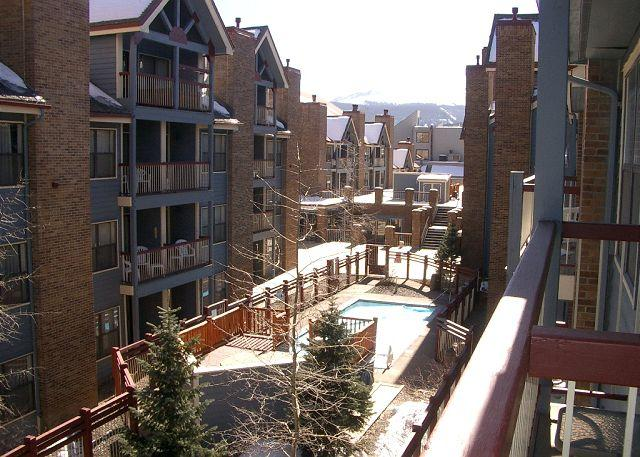 River Mountain Lodge View of Pool from Balcony Breckenridge Lodg