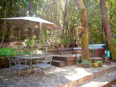 Falling Leaf Vacation Rental, Private Back Patio with Spa