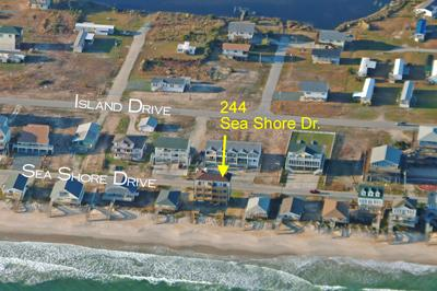 Aerial photo showing location of duplex
