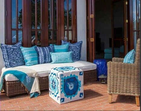 The outdoor sofa and ottoman