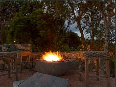 Mystic Ridge's fire pit makes for lovely Caribbean evenings