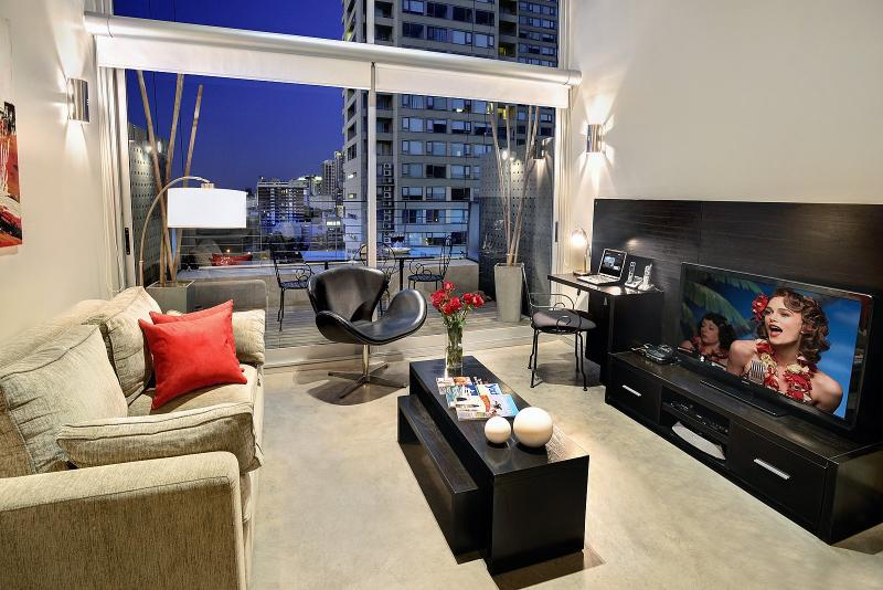46' LCD TV, DVD Player, Apple TV, 16 Foot floor to ceiling windows with amazing view. Private Patio!