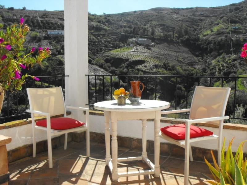 The sunny terrace with views over the valley