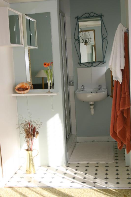 Baño privado con ducha, inodoro y lavabo