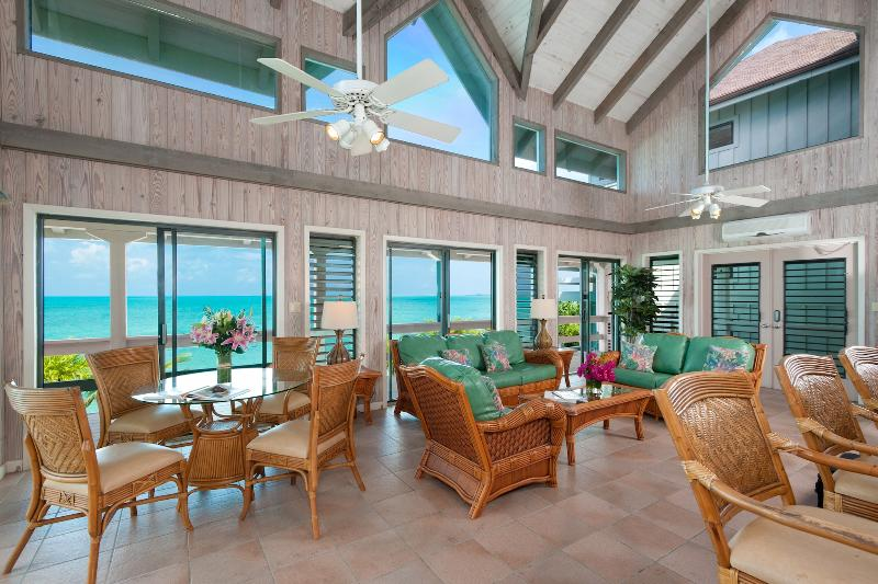 Spacious living room area with panoramic ocean views
