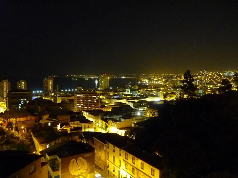 Night views over Valparaiso, Chile
