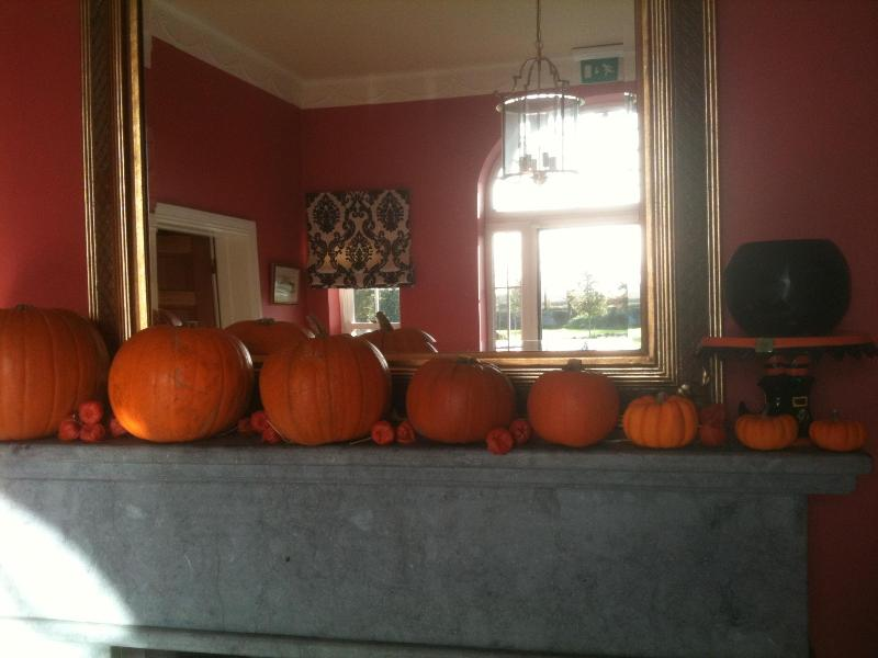 The Entrance Hall mantle piece decorated for Halloween