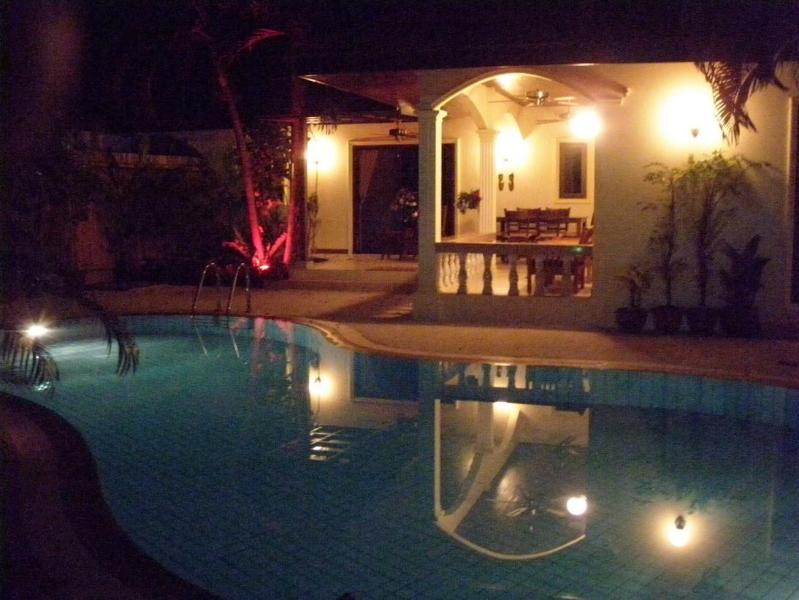 The Pool and Gardens are Stunningly Lit at Night