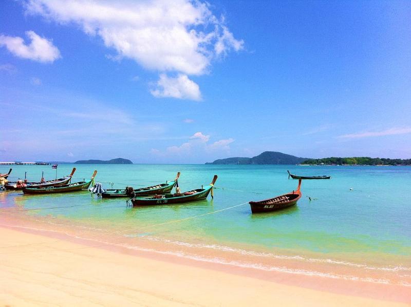 Longtail Boats Moored at Rawai Beach