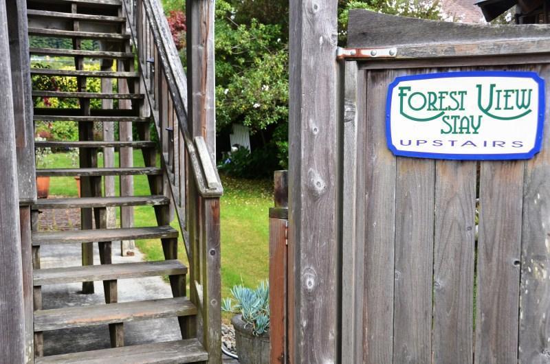 escaleras de alquiler de Arcata estadía Forest View Stay Studio vacaciones