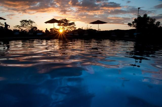 Sunset over the pool and harbor of San Juan del Sur