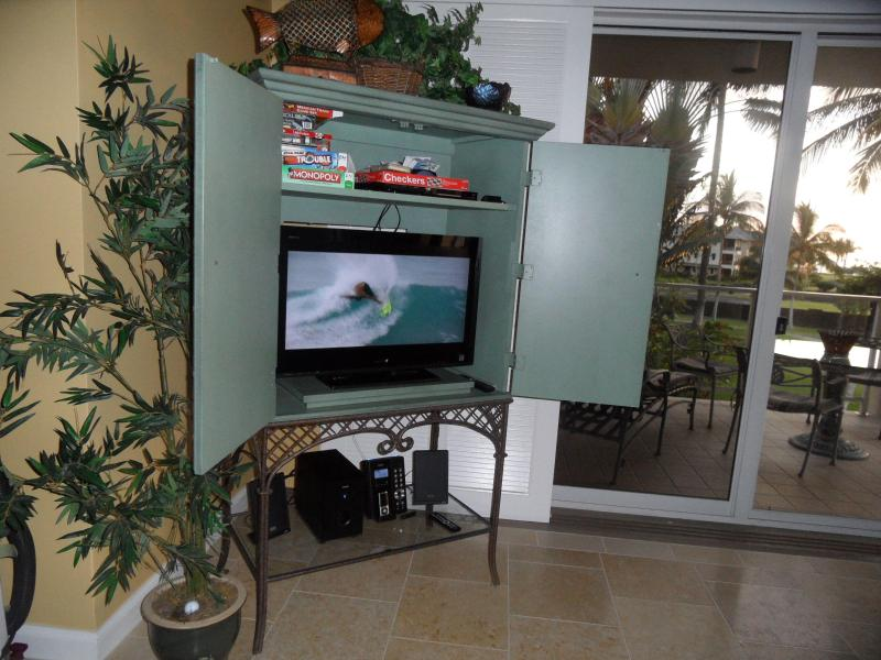 one of two flat screen TV's, DVD, & Ipod ready stereo
