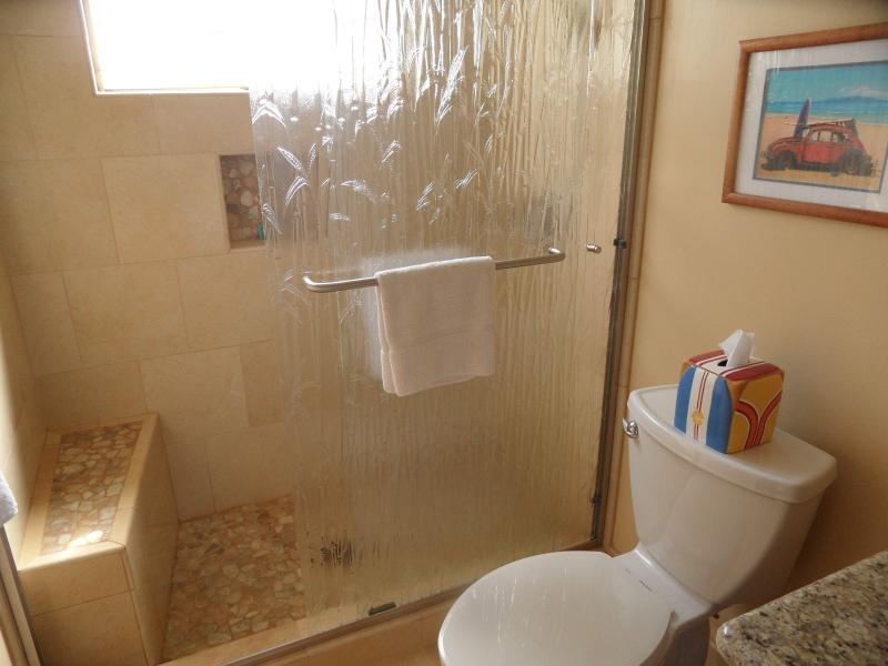 2nd Bath Newly remodeled with beautiful stone shower/floor