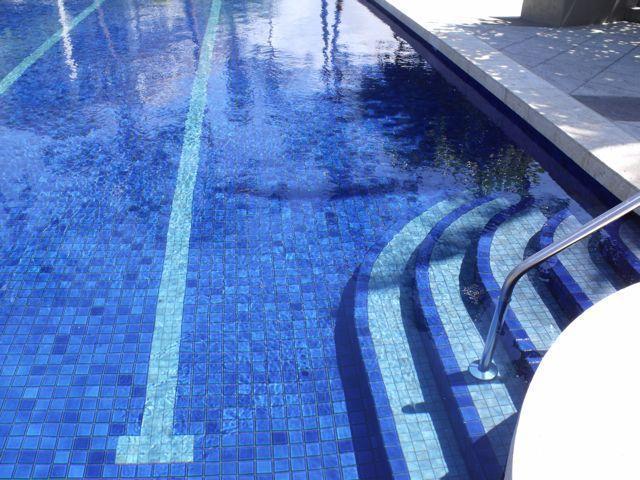 Beautiful tile work in the pool