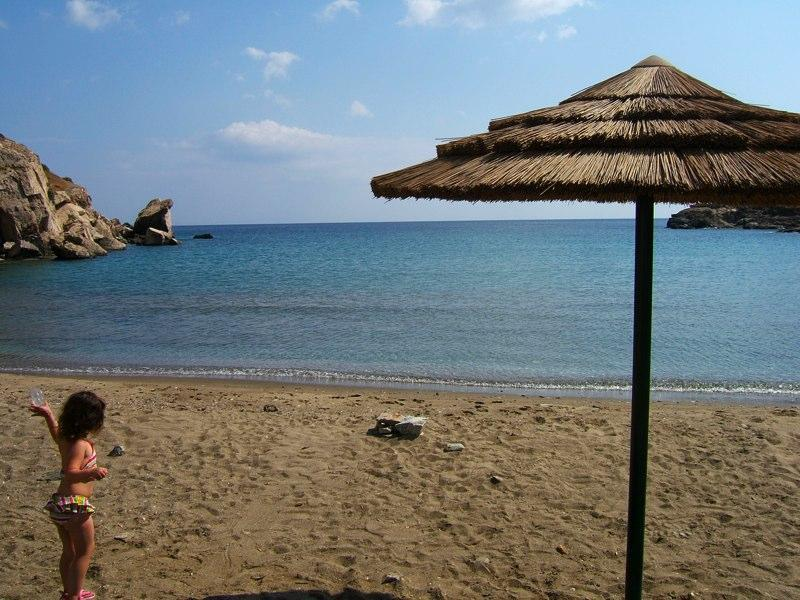 Abela beach is a two minute walk down a quiet road from the Villa.
