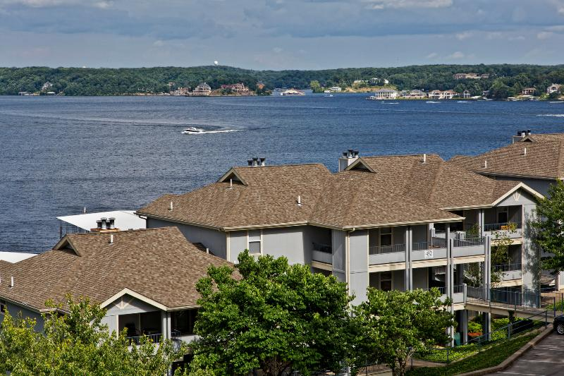 Condo is true lakefront in buiding shown and overlooking lake.  Condo is located on top floor.