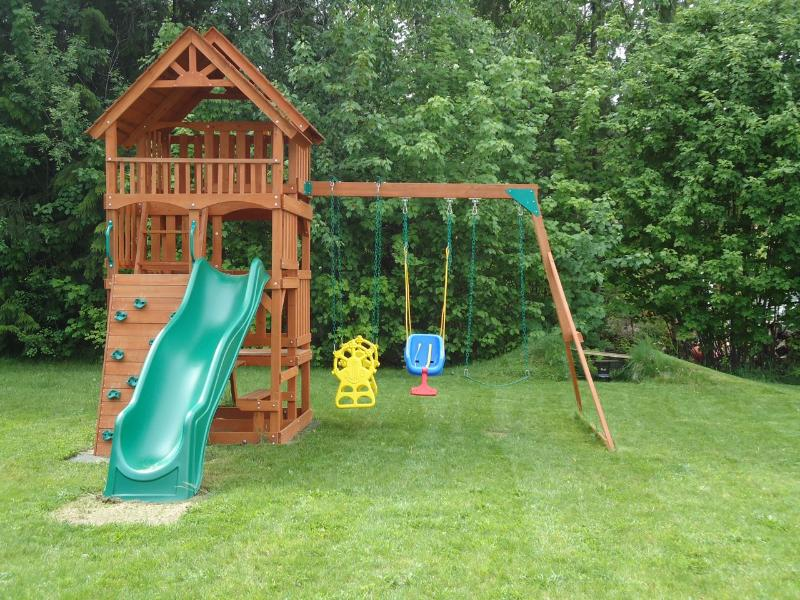 Huge playset in the backyard