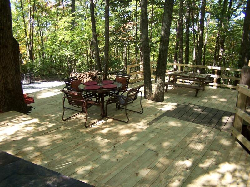 The Getaway's NEW multi level deck with dining areas!
