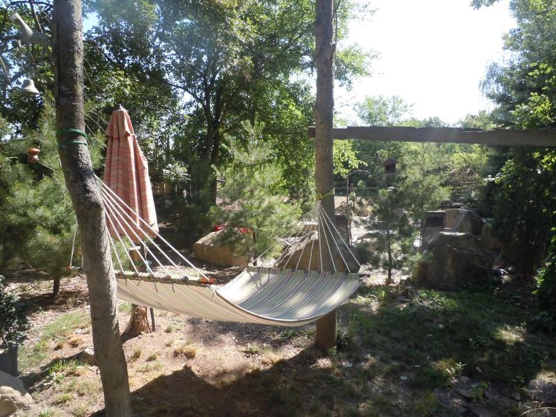 hammock, garden swings, firepit ....even the marshmallows are supplied!