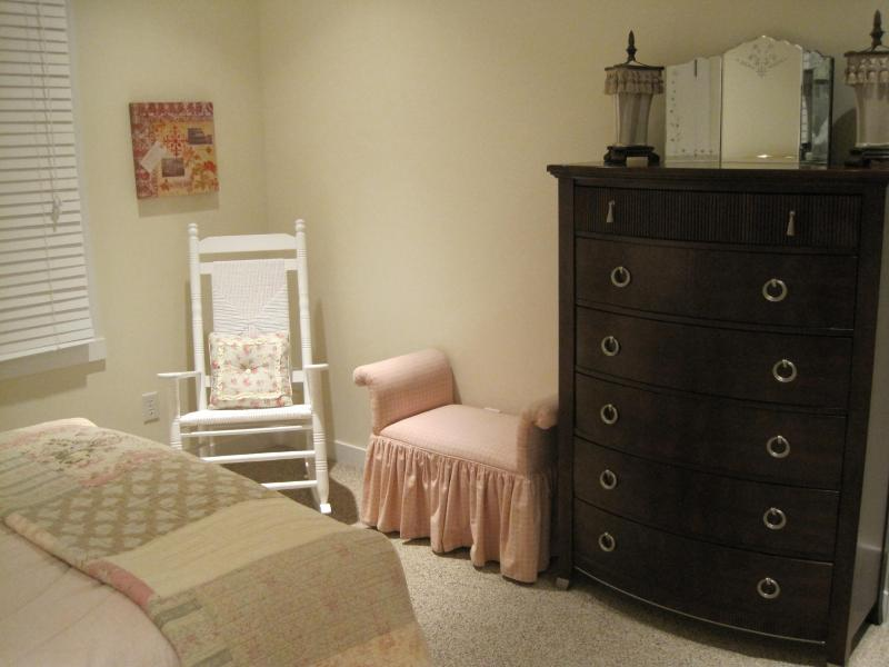 Unwind by unpacking in the chest of drawers and large closets in each bedroom.